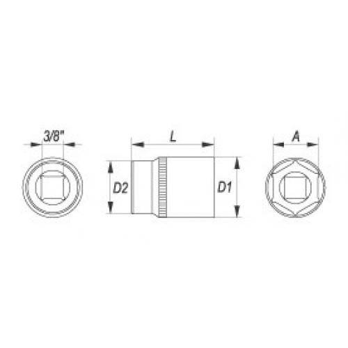 Hexagonal socket 3/8'' 9 mm