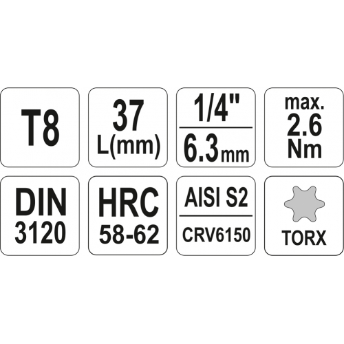 "BIT TORX T8, CU ADAPTOR 1/4"", 37MM"