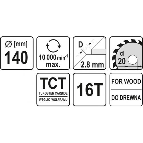 Pinza circular wolfram pt lemn, 140*20*2,8 mm