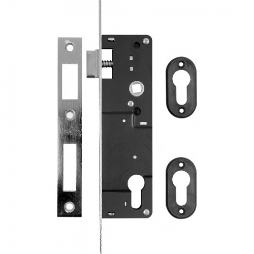 Mortise lock for keyed cylinder with latch and bolt