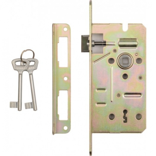 Mortise lock with lever mechanism and universal strike plate