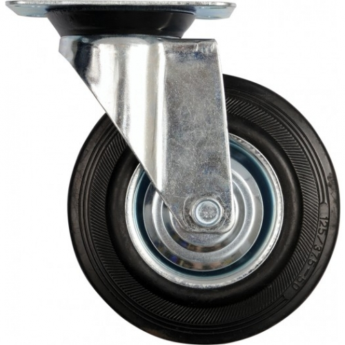 Swivel caster with black rubber