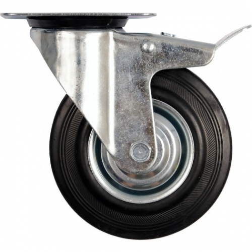 Double brake swivel caster with black rubber