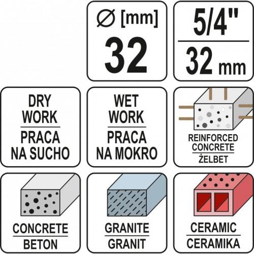 Carota diamantata pentru beton 32 mm Yato YT-60371 pentru YT-81980
