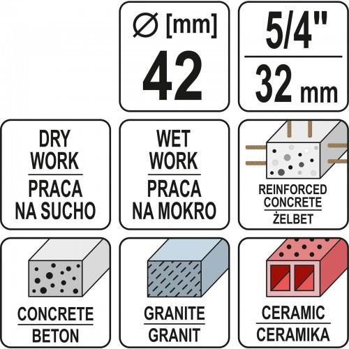 Carota diamantata pt beton 32 mm Yato YT-60372 pentru YT-81980