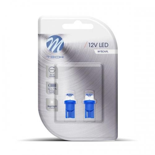 Bec LED M-TECH W5W - W1.2x9.5d, T10 (1x LED 8mm - 0.29W Albastru) Blister x 2buc