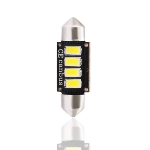 Bec LED M-TECH C5W, C10W - SV8.5 - 36mm (4X SMD - 2W Alb)[CANBUS] Blister x 1buc