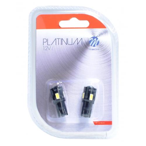 Bec LED M-TECH W5W - W1.2x9.5d, T10 (6x LED  - 3W Albastru) [CANBUS]{LUPA} Blister x 2bucMTECH