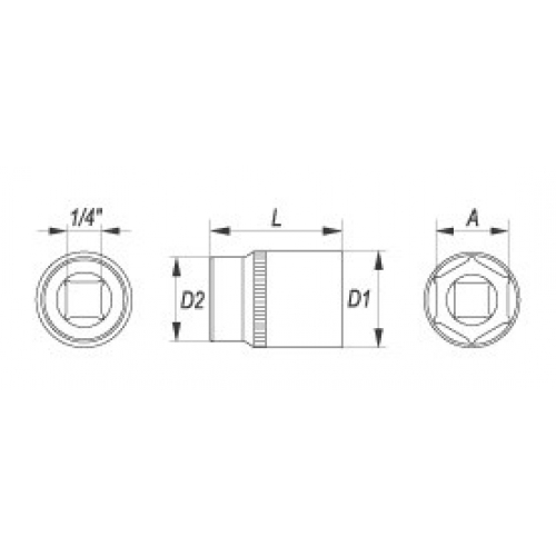 """Cheie tubulara hexagonala,1/4"""", 11 mm"""