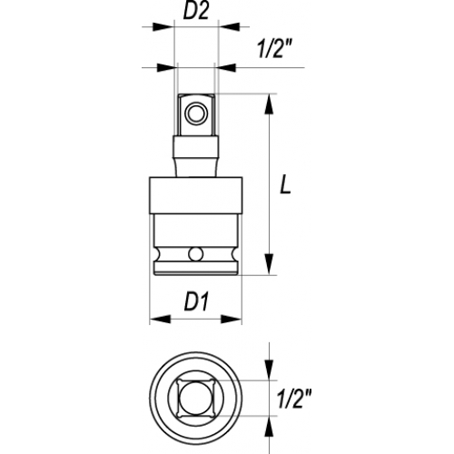 Impact universal joint 1/2x1/2', crv