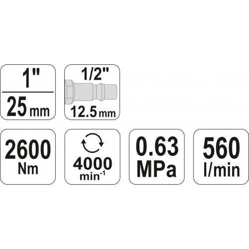 "Cheie pneumatica, 1"", 2600nm"