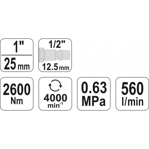 "CHEIE PNEUMATICA 1"", 2600NM"