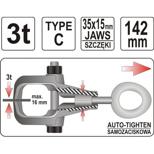 "Clema stringere pt. Tabla tip ""c"" , 35x15x142mm"